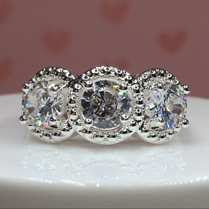 14k white gold ring diamond 3 CT wedding 3 stone